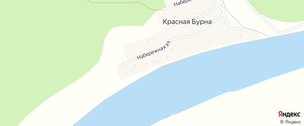 Набережная улица на карте деревни Красной Бурны с номерами домов