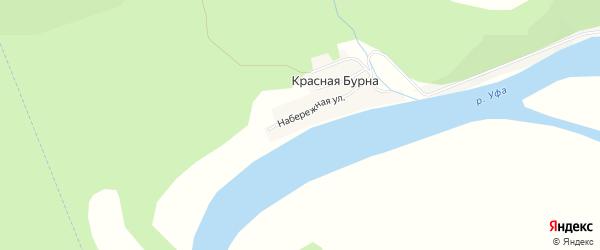 Карта деревни Красной Бурны в Башкортостане с улицами и номерами домов