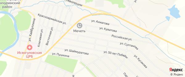 Карта села Исянгулово в Башкортостане с улицами и номерами домов