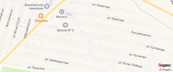 Радиолинейная улица на карте села Исянгулово с номерами домов