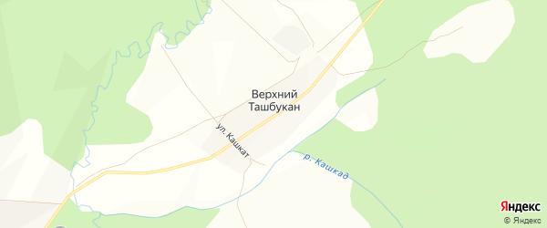 Карта деревни Верхнего Ташбукана в Башкортостане с улицами и номерами домов