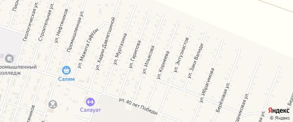 Улица Ильясова на карте села Исянгулово с номерами домов