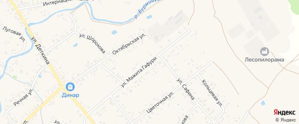 Улица Мажита Гафури на карте села Аскино с номерами домов