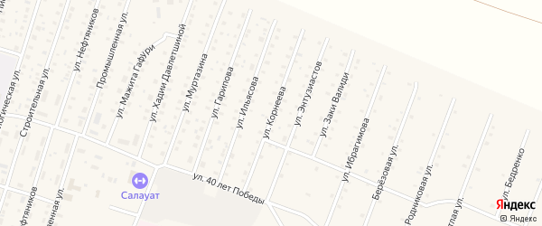 Улица Корнеева на карте села Исянгулово с номерами домов
