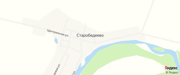 Карта деревни Старобедеево в Башкортостане с улицами и номерами домов