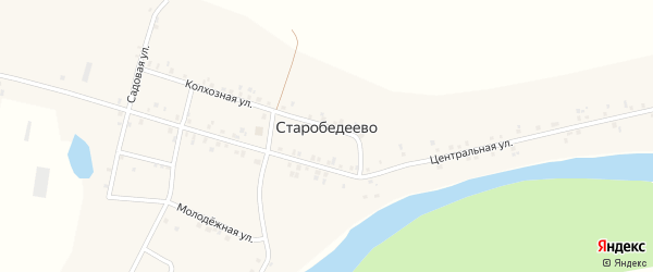 Школьная улица на карте деревни Старобедеево с номерами домов