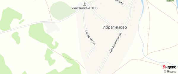 Западная улица на карте деревни Ибрагимово с номерами домов