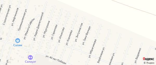 Улица Энтузиастов на карте села Исянгулово с номерами домов