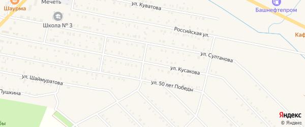 Улица Кусакова на карте села Исянгулово с номерами домов