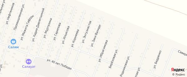 Улица Заки Валиди на карте села Исянгулово с номерами домов