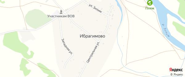 Улица Бикташева на карте деревни Ибрагимово с номерами домов