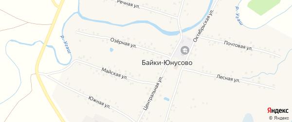 Озерная улица на карте деревни Байки-Юнусово с номерами домов