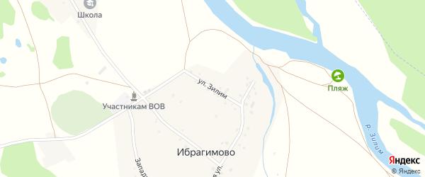 Улица Зилим на карте деревни Ибрагимово с номерами домов