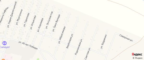 Березовая улица на карте села Исянгулово с номерами домов
