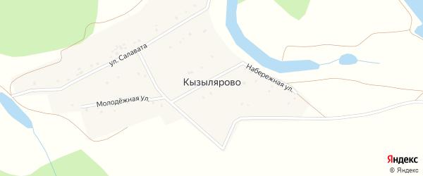 Молодежная улица на карте деревни Кызылярово с номерами домов