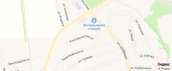 Комсомольская улица на карте села Мраково с номерами домов