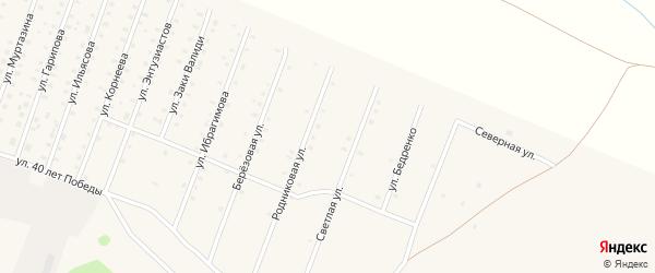 Светлая улица на карте села Исянгулово с номерами домов