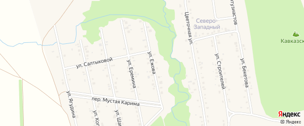 Улица Ежова на карте села Мраково с номерами домов