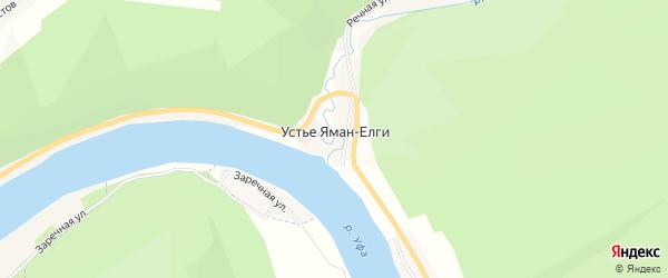 Карта деревни Устья Яман-Елги в Башкортостане с улицами и номерами домов