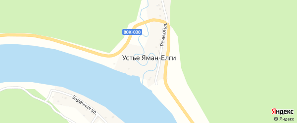 Речная улица на карте деревни Устья Яман-Елги с номерами домов