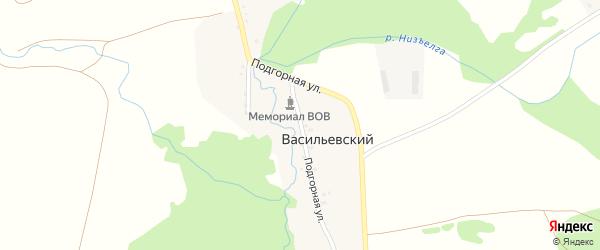 Подгорная улица на карте Васильевского хутора с номерами домов