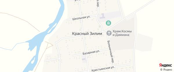 Школьный переулок на карте села Красного Зилима с номерами домов
