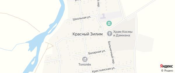 Зеленая улица на карте села Красного Зилима с номерами домов
