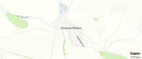 Карта деревни Нижней Майки в Башкортостане с улицами и номерами домов