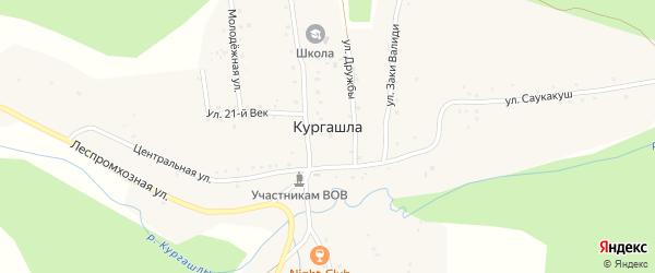 Переулок Саукакуш на карте деревни Кургашлы с номерами домов