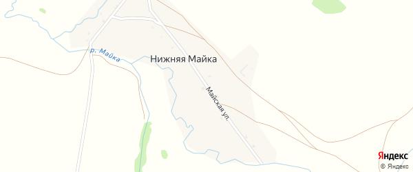 Майская улица на карте деревни Нижней Майки с номерами домов