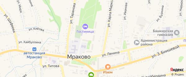Шоссейная улица на карте села Мраково с номерами домов