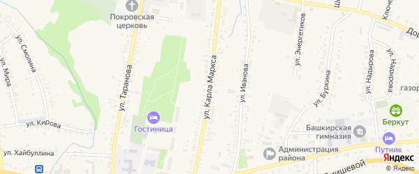 Улица К.Маркса на карте села Мраково с номерами домов