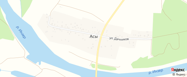 Улица Дачников на карте деревни Асы с номерами домов