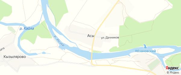 Карта деревни Асы в Башкортостане с улицами и номерами домов