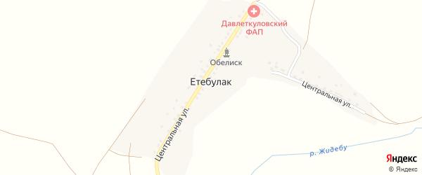 Центральная улица на карте деревни Етебулака с номерами домов