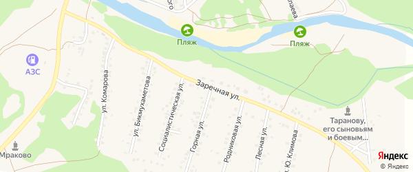 Заречная улица на карте села Мраково с номерами домов