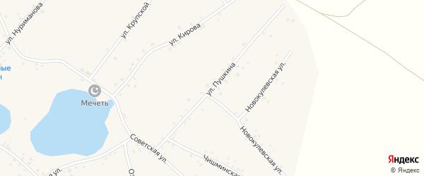 Улица Пушкина на карте села Новокулево с номерами домов