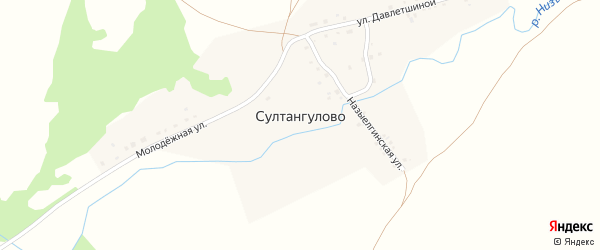 Назыелгинская улица на карте деревни Султангулово с номерами домов