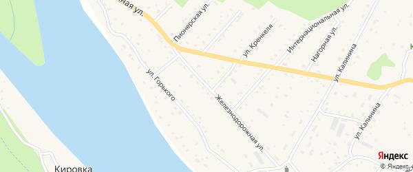 Железнодорожная улица на карте села Красного Ключа с номерами домов
