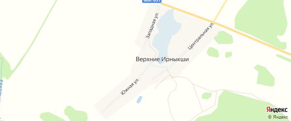 Карта деревни Верхние Ирныкши в Башкортостане с улицами и номерами домов