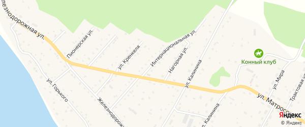 Интернациональная улица на карте села Красного Ключа с номерами домов