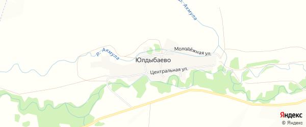 Карта деревни Юлдыбаево в Башкортостане с улицами и номерами домов