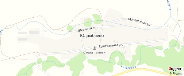 Центральная улица на карте деревни Юлдыбаево с номерами домов