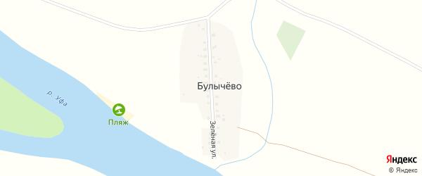 Зеленая улица на карте деревни Булычево с номерами домов