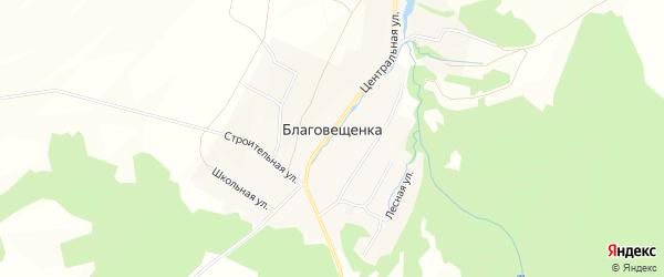 Карта села Благовещенки в Башкортостане с улицами и номерами домов