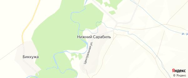 Карта деревни Нижнего Сарабиля в Башкортостане с улицами и номерами домов