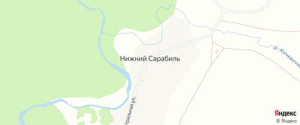 Центральная улица на карте деревни Нижнего Сарабиля с номерами домов