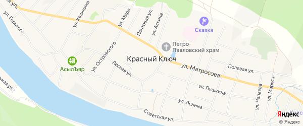 Карта села Красного Ключа в Башкортостане с улицами и номерами домов