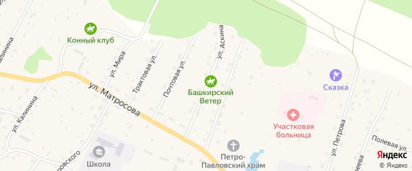 Улица Аскина на карте села Красного Ключа с номерами домов