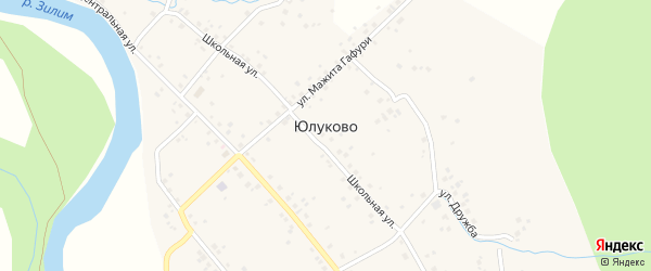 Школьная улица на карте села Юлуково с номерами домов